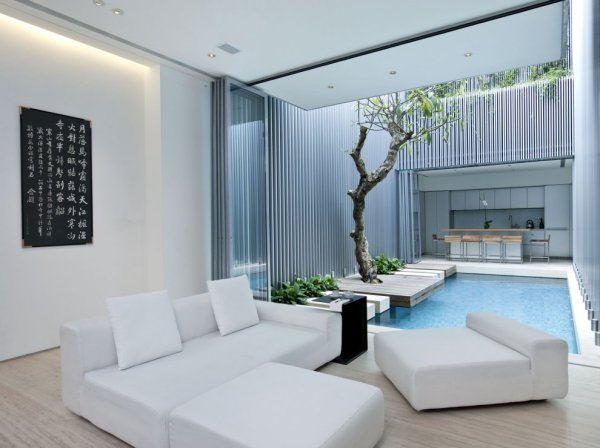 Small pool, kitchen and living room